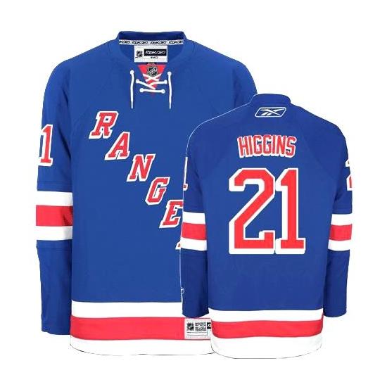 Reebok EDGE Christopher Higgins New York Rangers Home Authentic Jersey - Blue