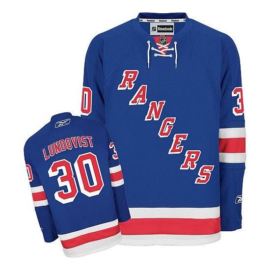 Reebok Henrik Lundqvist New York Rangers Home Premier Jersey - Blue