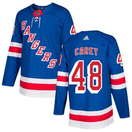 Adidas Matt Carey New York Rangers Authentic Home Jersey - Royal Blue