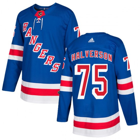 Adidas Brandon Halverson New York Rangers Authentic Home Jersey - Royal Blue