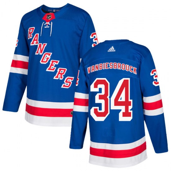 Adidas John Vanbiesbrouck New York Rangers Authentic Home Jersey - Royal Blue