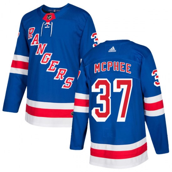 Adidas George Mcphee New York Rangers Youth Authentic Home Jersey - Royal Blue