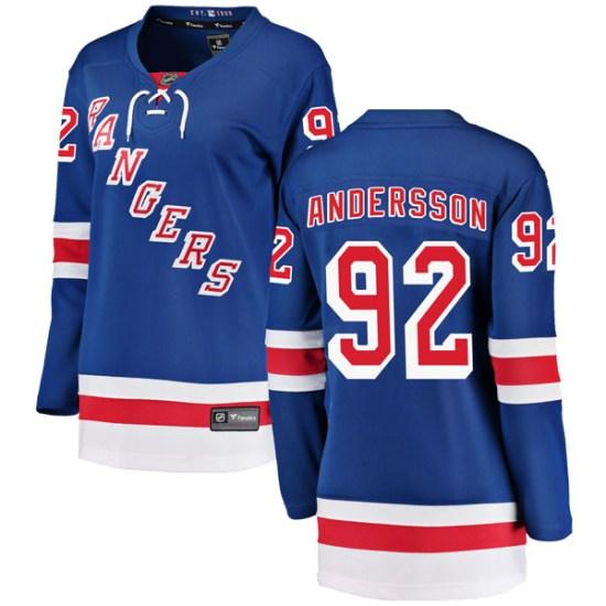 Fanatics Branded Calle Andersson New York Rangers Women's Breakaway Home Jersey - Blue
