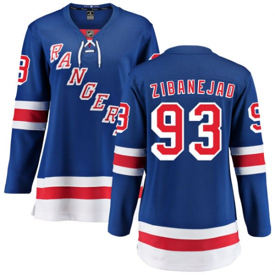 Fanatics Branded Mika Zibanejad New York Rangers Women's Home Breakaway Jersey - Blue