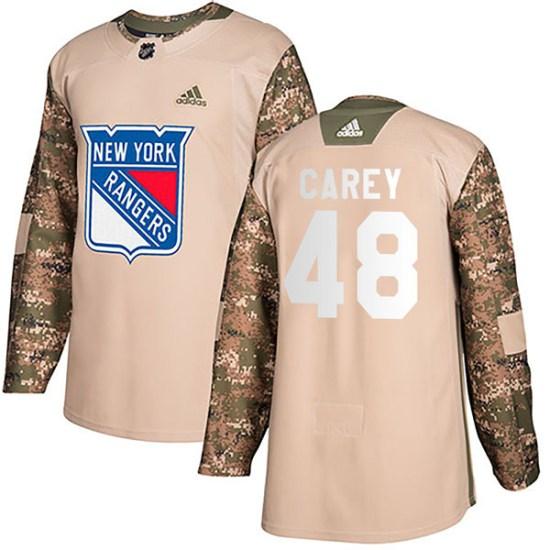 Adidas Matt Carey New York Rangers Youth Authentic Veterans Day Practice Jersey - Camo