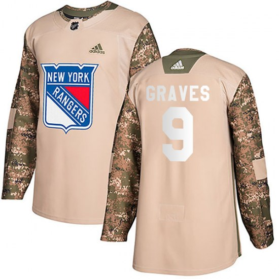 Adidas Adam Graves New York Rangers Youth Authentic Veterans Day Practice Jersey - Camo