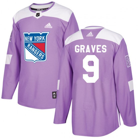 Adidas Adam Graves New York Rangers Authentic Fights Cancer Practice Jersey - Purple