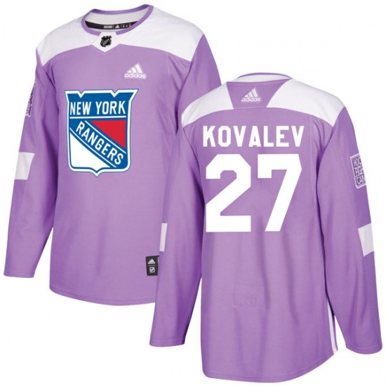 Adidas Alex Kovalev New York Rangers Authentic Fights Cancer Practice Jersey - Purple
