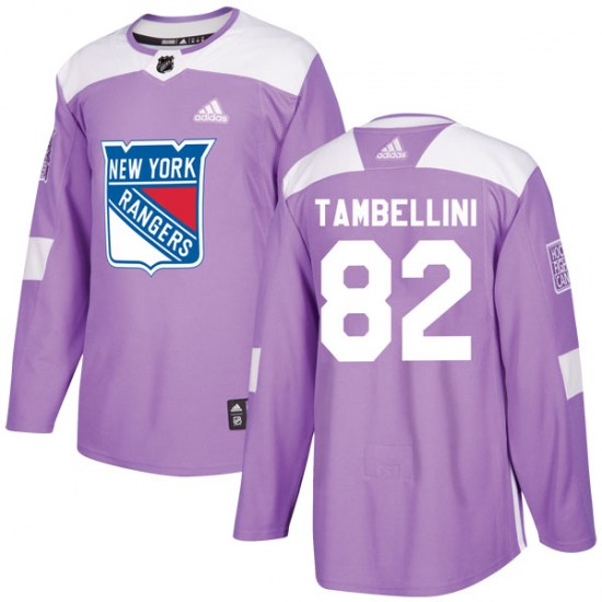 Adidas Adam Tambellini New York Rangers Authentic Fights Cancer Practice Jersey - Purple