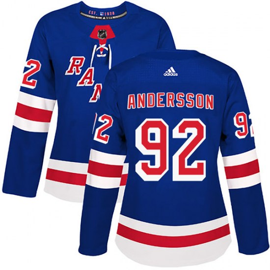 Adidas Calle Andersson New York Rangers Women's Authentic Home Jersey - Royal Blue