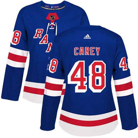 Adidas Matt Carey New York Rangers Women's Authentic Home Jersey - Royal Blue