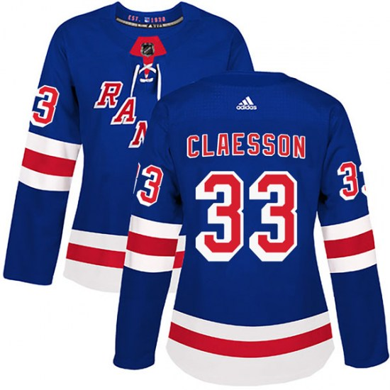 Adidas Fredrik Claesson New York Rangers Women's Authentic Home Jersey - Royal Blue