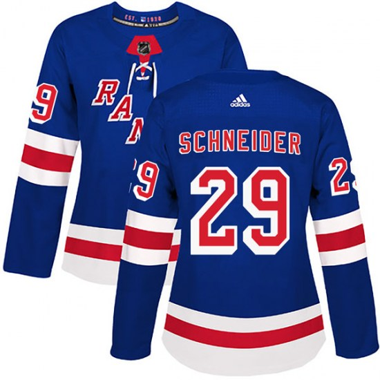 Adidas Cole Schneider New York Rangers Women's Authentic Home Jersey - Royal Blue