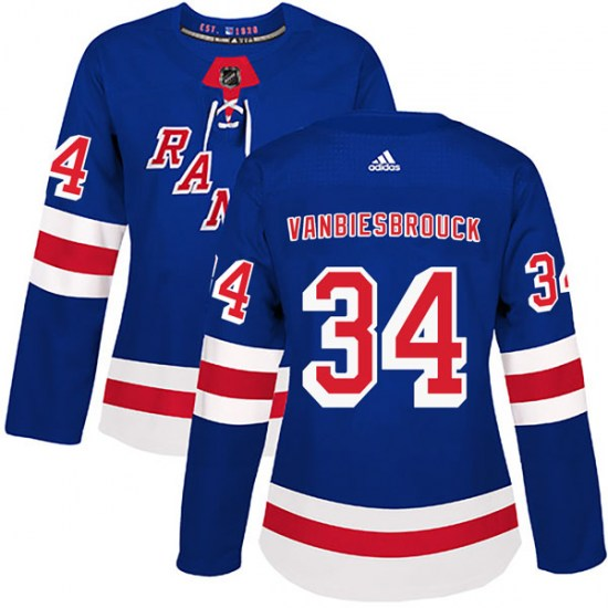 Adidas John Vanbiesbrouck New York Rangers Women's Authentic Home Jersey - Royal Blue