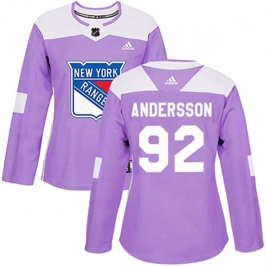 Adidas Calle Andersson New York Rangers Women's Authentic Fights Cancer Practice Jersey - Purple