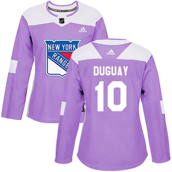 Adidas Ron Duguay New York Rangers Women's Authentic Fights Cancer Practice Jersey - Purple