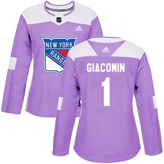 Adidas Eddie Giacomin New York Rangers Women's Authentic Fights Cancer Practice Jersey - Purple