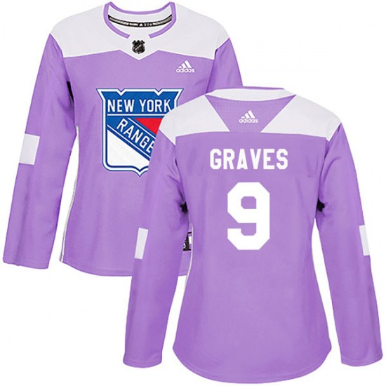 Adidas Adam Graves New York Rangers Women's Authentic Fights Cancer Practice Jersey - Purple