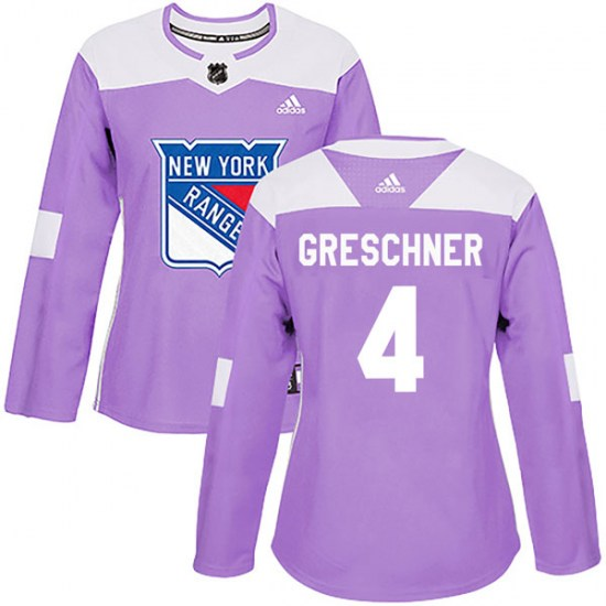 Adidas Ron Greschner New York Rangers Women's Authentic Fights Cancer Practice Jersey - Purple