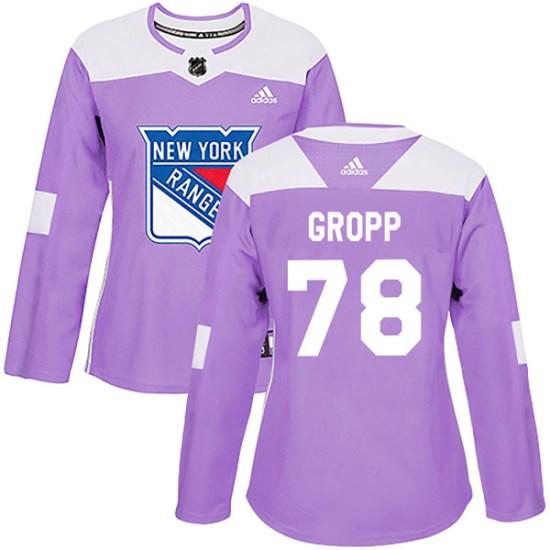 Adidas Ryan Gropp New York Rangers Women's Authentic Fights Cancer Practice Jersey - Purple