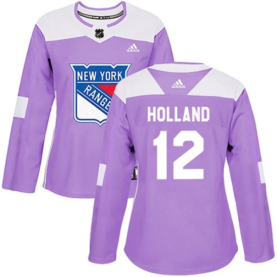 Adidas Peter Holland New York Rangers Women's Authentic Fights Cancer Practice Jersey - Purple