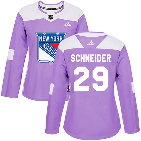 Adidas Cole Schneider New York Rangers Women's Authentic Fights Cancer Practice Jersey - Purple