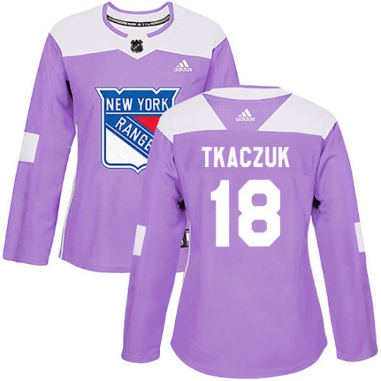 Adidas Walt Tkaczuk New York Rangers Women's Authentic Fights Cancer Practice Jersey - Purple