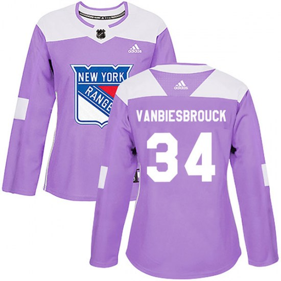 Adidas John Vanbiesbrouck New York Rangers Women's Authentic Fights Cancer Practice Jersey - Purple