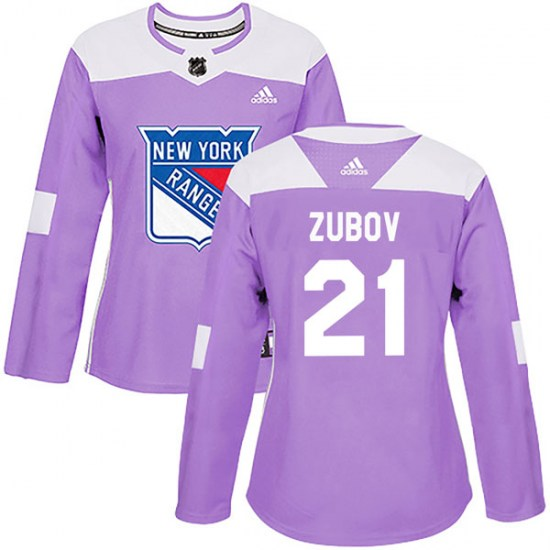 Adidas Sergei Zubov New York Rangers Women's Authentic Fights Cancer Practice Jersey - Purple