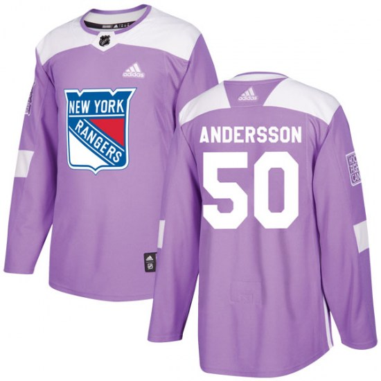 Adidas Lias Andersson New York Rangers Youth Authentic Fights Cancer Practice Jersey - Purple
