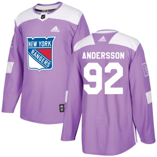 Adidas Calle Andersson New York Rangers Youth Authentic Fights Cancer Practice Jersey - Purple