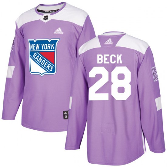 Adidas Taylor Beck New York Rangers Youth Authentic Fights Cancer Practice Jersey - Purple