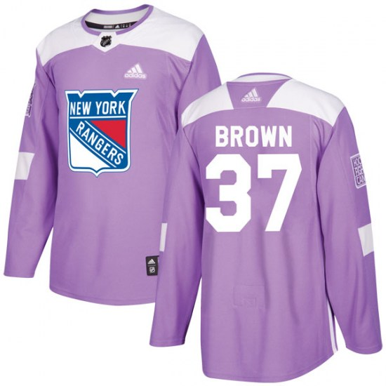 Adidas Chris Brown New York Rangers Youth Authentic Fights Cancer Practice Jersey - Purple