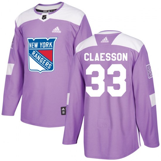 Adidas Fredrik Claesson New York Rangers Youth Authentic Fights Cancer Practice Jersey - Purple