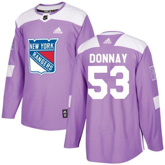 Adidas Troy Donnay New York Rangers Youth Authentic Fights Cancer Practice Jersey - Purple