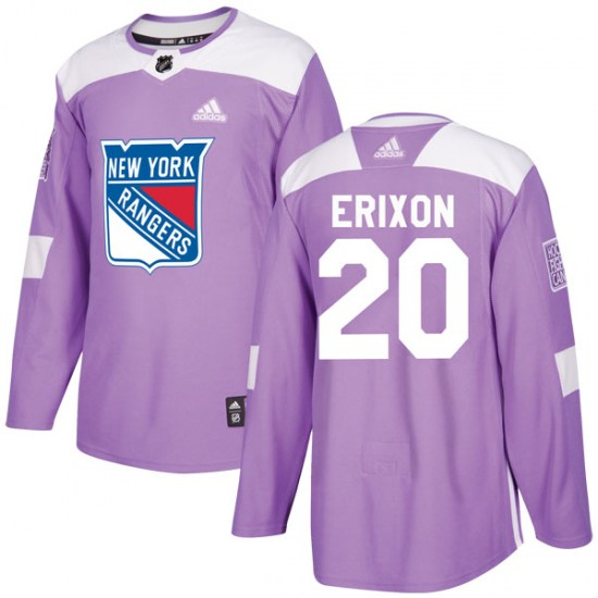 Adidas Jan Erixon New York Rangers Youth Authentic Fights Cancer Practice Jersey - Purple