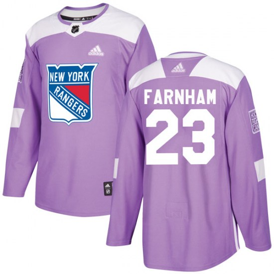 Adidas Bobby Farnham New York Rangers Youth Authentic Fights Cancer Practice Jersey - Purple
