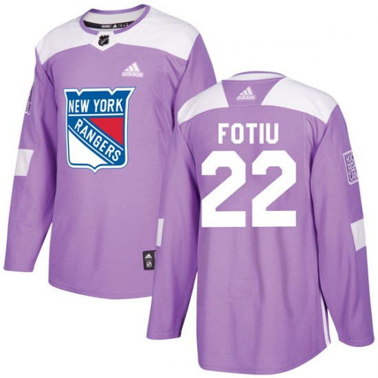 Adidas Nick Fotiu New York Rangers Youth Authentic Fights Cancer Practice Jersey - Purple