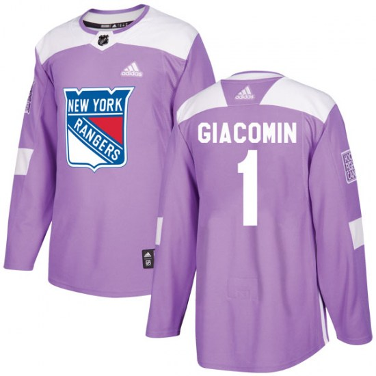 Adidas Eddie Giacomin New York Rangers Youth Authentic Fights Cancer Practice Jersey - Purple