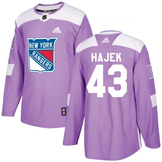 Adidas Libor Hajek New York Rangers Youth Authentic Fights Cancer Practice Jersey - Purple