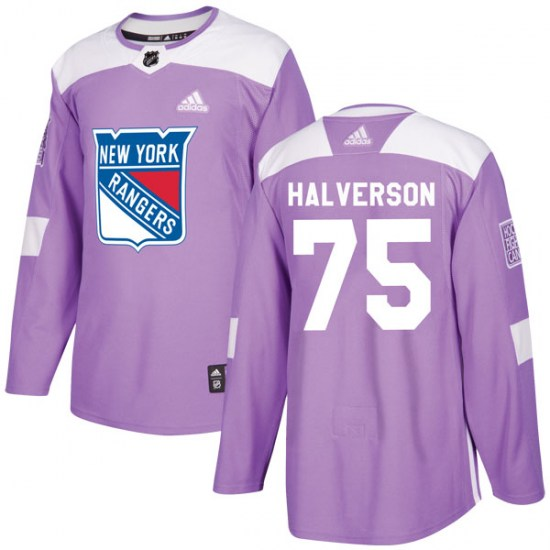 Adidas Brandon Halverson New York Rangers Youth Authentic Fights Cancer Practice Jersey - Purple
