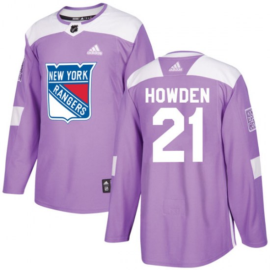 Adidas Brett Howden New York Rangers Youth Authentic Fights Cancer Practice Jersey - Purple
