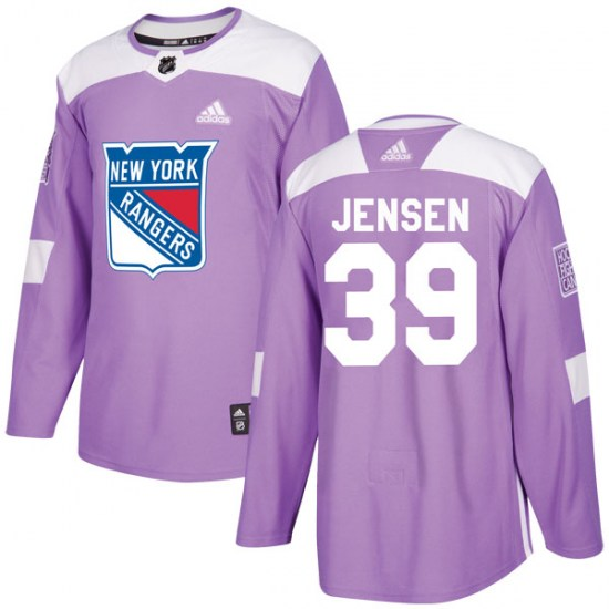 Adidas Niklas Jensen New York Rangers Youth Authentic Fights Cancer Practice Jersey - Purple