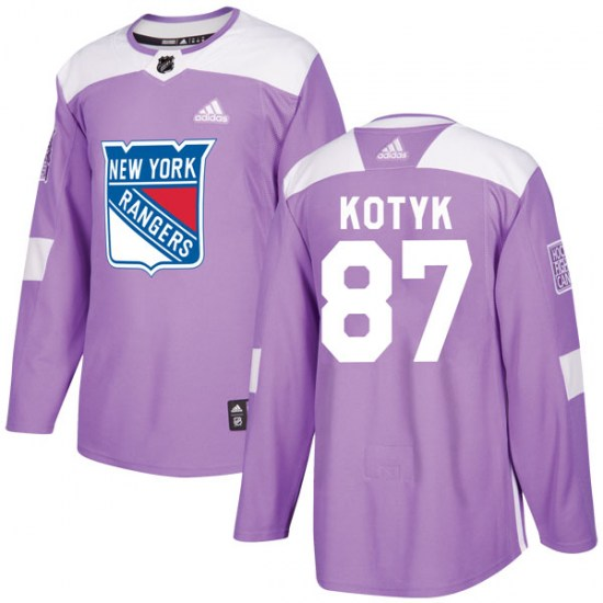 Adidas Brenden Kotyk New York Rangers Youth Authentic Fights Cancer Practice Jersey - Purple