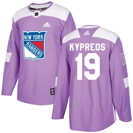 Adidas Nick Kypreos New York Rangers Youth Authentic Fights Cancer Practice Jersey - Purple
