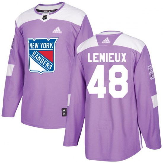 Adidas Brendan Lemieux New York Rangers Youth Authentic Fights Cancer Practice Jersey - Purple