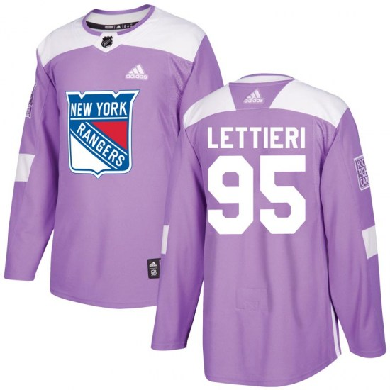 Adidas Vinni Lettieri New York Rangers Youth Authentic Fights Cancer Practice Jersey - Purple