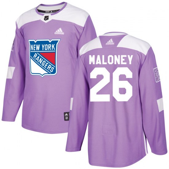 Adidas Dave Maloney New York Rangers Youth Authentic Fights Cancer Practice Jersey - Purple