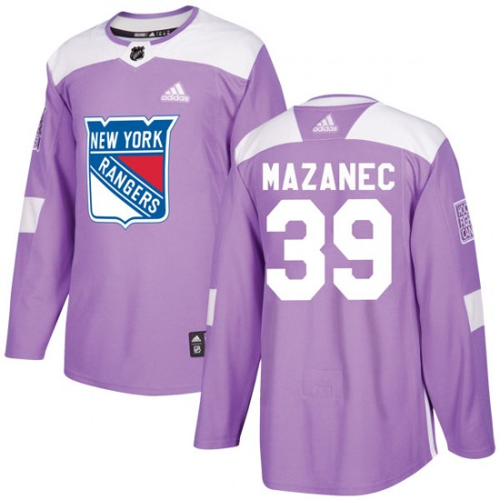 Adidas Marek Mazanec New York Rangers Youth Authentic Fights Cancer Practice Jersey - Purple