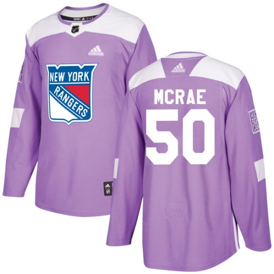 Adidas Philip McRae New York Rangers Youth Authentic Fights Cancer Practice Jersey - Purple